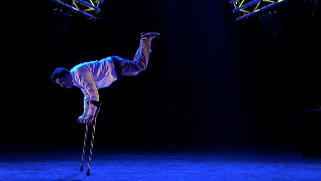 disabled break dancer performs
