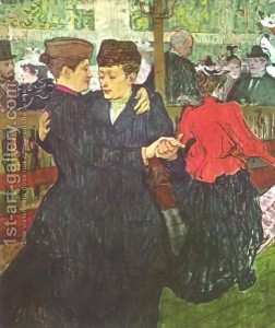 classic painting of 2 women dancing