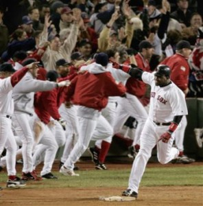 Red Sox celebrate a home run