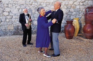 elderly couple dancing
